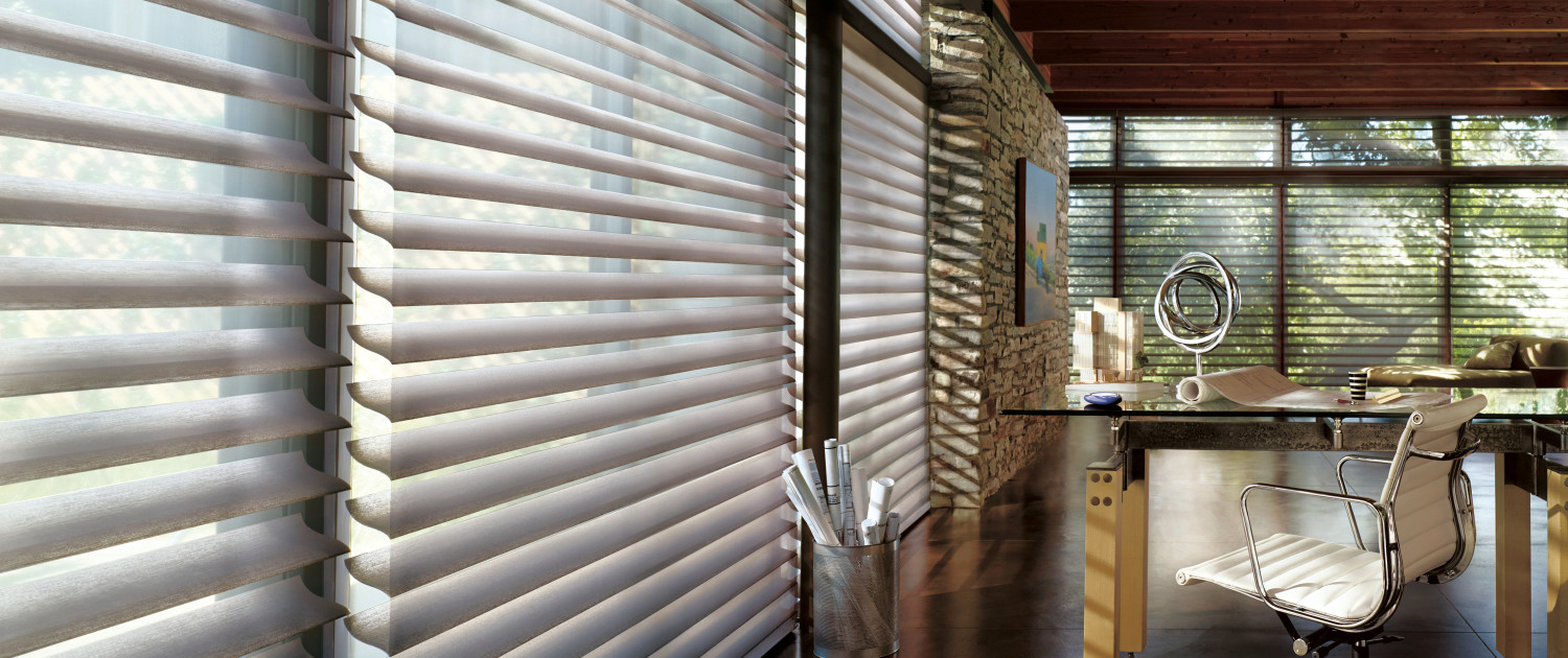 Shades in place shades blinds shutters and more in boston for Hunter douglas motorized blinds cost